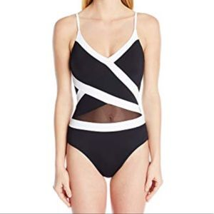 Anne Cole classy black and white swimsuit